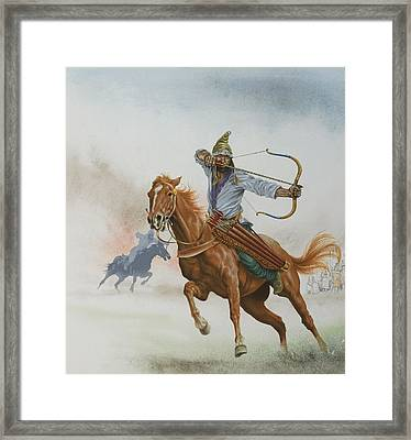 Horsemen From The Steppes Framed Print by English School