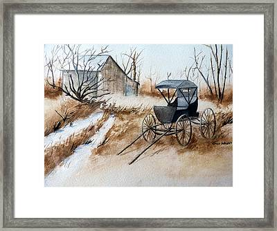 Horsepowered Winter Surrey Painting Framed Print by Cindy Wright