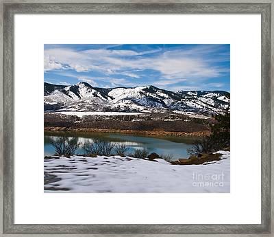 Horsetooth Reservoir Winter Scene Framed Print by Harry Strharsky