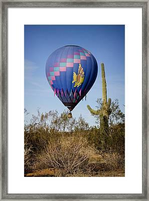 Hot Air Balloon Flight Over The Lush Arizona Desert Framed Print by James BO  Insogna