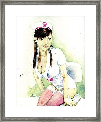 Hot Nurse Framed Print by Alban Dizdari
