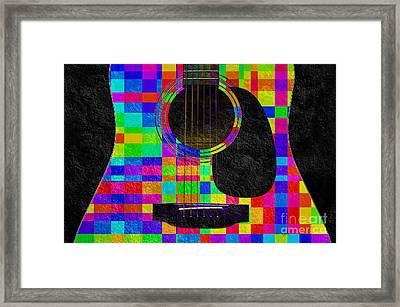 Hour Glass Guitar Random Rainbow Squares Framed Print by Andee Design