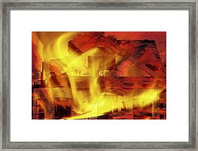 House Fire Illustration 2 Framed Print by Steve Ohlsen