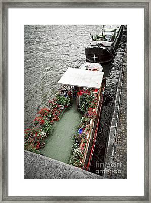 Houseboats In Paris Framed Print by Elena Elisseeva