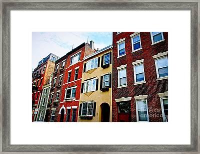 Houses In Boston Framed Print by Elena Elisseeva