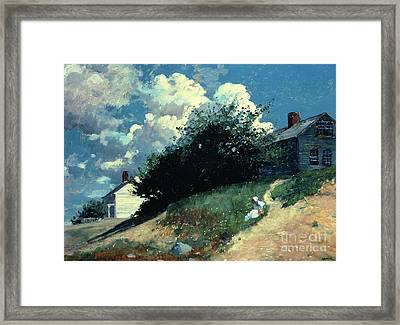 Houses On A Hill Framed Print by Winslow Homer