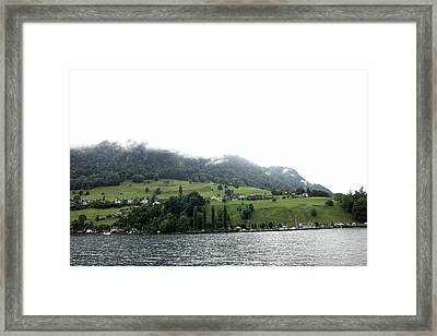 Houses On The Greenery Of The Slope Of A Mountain Next To Lake Lucerne Framed Print by Ashish Agarwal