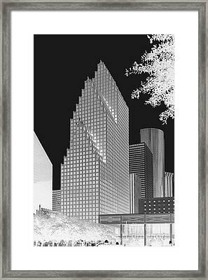 Houston Skyline - Kodak Film Bw Solarized Framed Print by Connie Fox