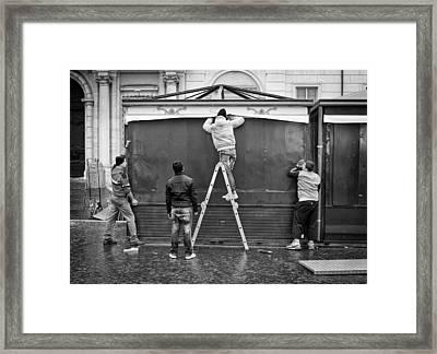 How Many Men Does It Take Framed Print by Michael Avory