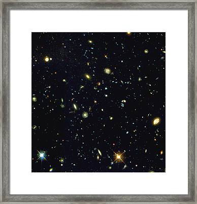 Hst Deep-view Of Several Very Distant Galaxies Framed Print by Nasaesastscir.williams, Hdf-s Team
