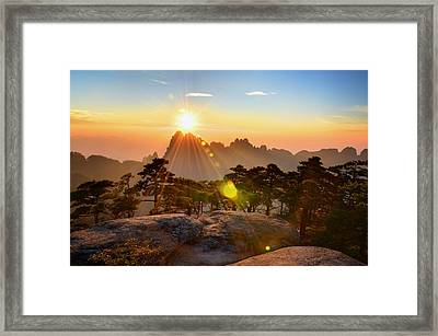 Huangshan Mountain Range Framed Print by Andy Brandl