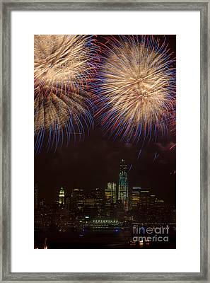 Hudson River Fireworks Xi Framed Print by Clarence Holmes