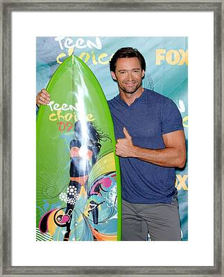Hugh Jackman In The Press Room For Teen Framed Print by Everett