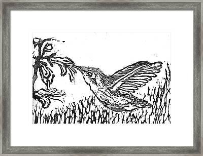 Hummingbird  Block Print Framed Print by Ellen Miffitt