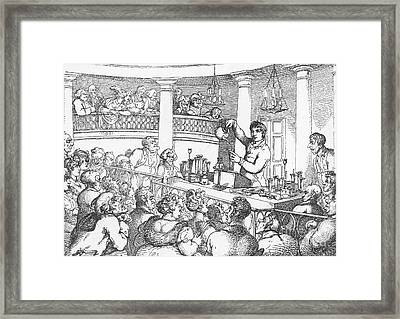 Humphrey Davy Lecturing, 1809 Framed Print by Science Source