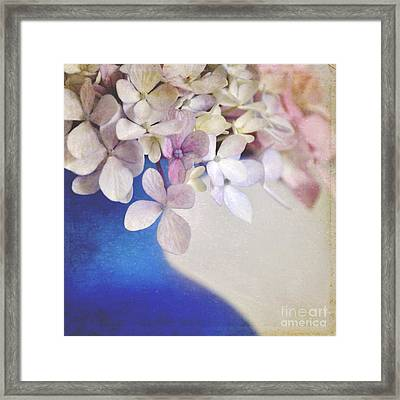 Hydrangeas In Deep Blue Vase Framed Print by Lyn Randle