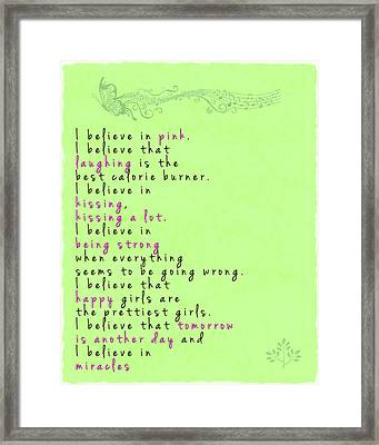 I Believe In Pink - Audrey Hepburn Framed Print by Georgia Fowler