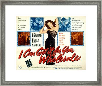 I Can Get It For You Wholesale, Susan Framed Print by Everett