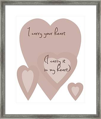 I Carry Your Heart I Carry It In My Heart - Dusky Pinks Framed Print by Georgia Fowler