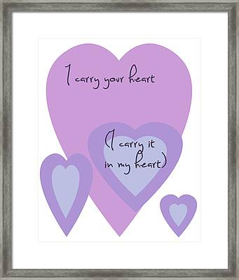 I Carry Your Heart I Carry It In My Heart - Lilac Purples Framed Print by Georgia Fowler