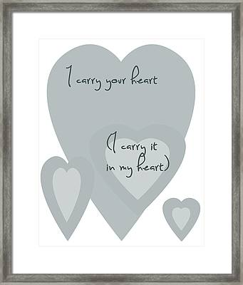 I Carry Your Heart I Carry It In My Heart - Pale Blues Framed Print by Georgia Fowler