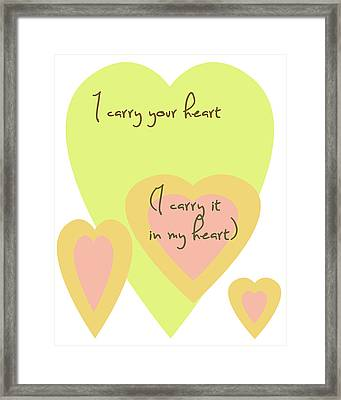 I Carry Your Heart I Carry It In My Heart - Yellow And Peach Framed Print by Georgia Fowler