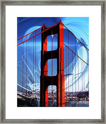 I Left My Heart In San Francisco . Golden Gate Bridge Framed Print by Wingsdomain Art and Photography