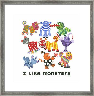 I Like Monsters Framed Print by Barbara Esposito