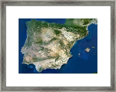 Iberian Peninsula, Satellite Image Framed Print by Planetobserver