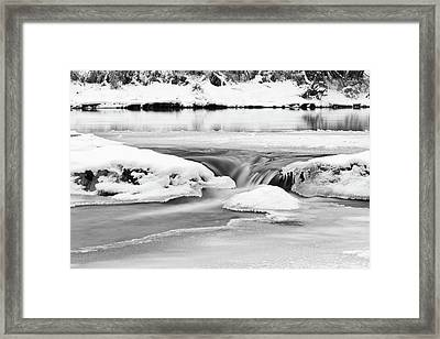 Ice And Snow On River Framed Print by Fototstation Schoenau Juergen Olbricht