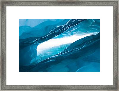Ice Cave On The Glacier Framed Print by John White