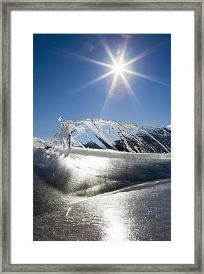 Ice Formations On A Frozen Lake Framed Print by Michael Interisano