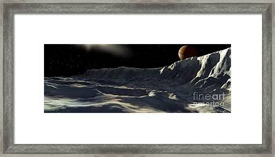 Ice Scarp On Jupiters Large Moon Framed Print by Ron Miller