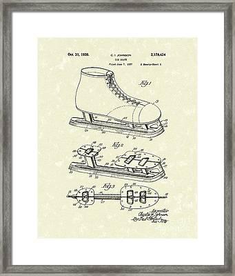 Ice Skate 1939 Patent Art Framed Print by Prior Art Design