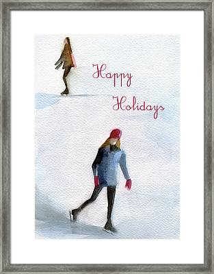 Ice Skaters Holiday Card Framed Print by Beverly Brown