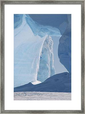Icebergs Caught In Frozen Ice Shelf Framed Print by Konrad Wothe