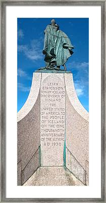 Iceland Leif Erricson Statue Framed Print by Gregory Dyer