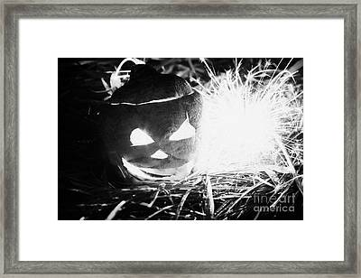 Illuminated Halloween Turnip Jack-o-lantern With Sparkler To Ward Off Evil Spirits Framed Print by Joe Fox