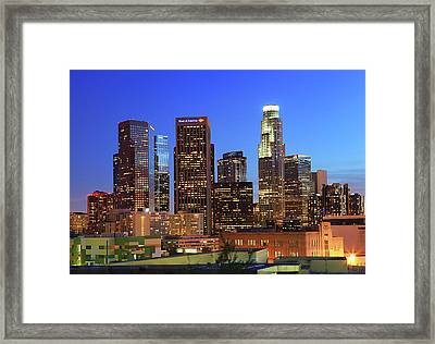 Illuminated Of Downtown Skyscrapers Framed Print by Kenny Hung Photography