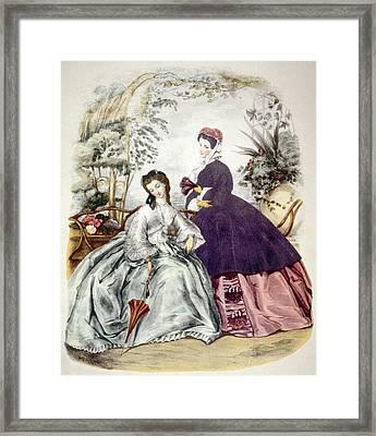 Illustration Of 19th Century Fashions Framed Print by Everett