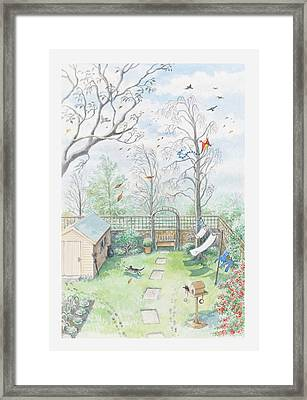 Illustration Of A Garden As A Storm Is Developing Framed Print by Dorling Kindersley