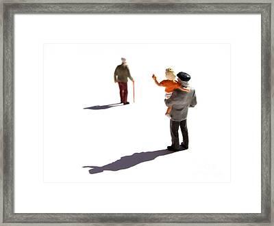 Illustration Of Elderlys Framed Print by Bernard Jaubert
