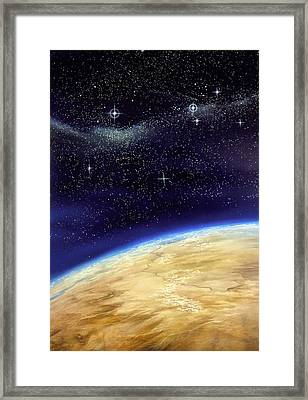 Illustration Of Part Of The Earth On A Starfield Framed Print by David Ducros