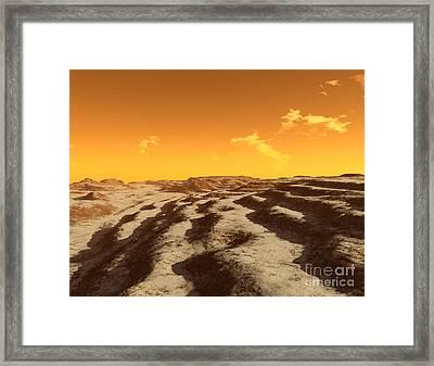 Illustration Of Terraced Terrain Framed Print by Ron Miller