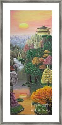 Imagined Autumn In Japan Framed Print by Ana Maria  Garcia Ruiz