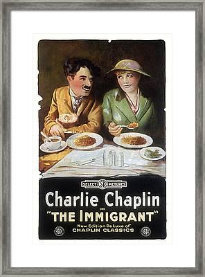 Immigrant, Charlie Chaplin, Edna Framed Print by Everett