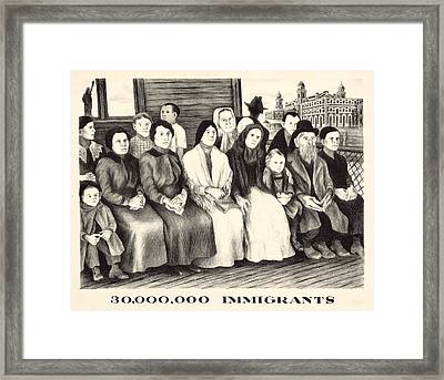 Immigrants. Shows A Group Of Immigrants Framed Print by Everett