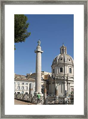 Imperial Fora With The Trajan's Column And The Church Santissimo Nome Di Maria.  Rome Framed Print by Bernard Jaubert