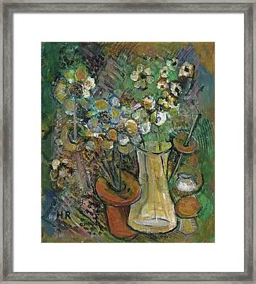 Impression Of Flowers Vase Framed Print by Rachel Hershkovitz