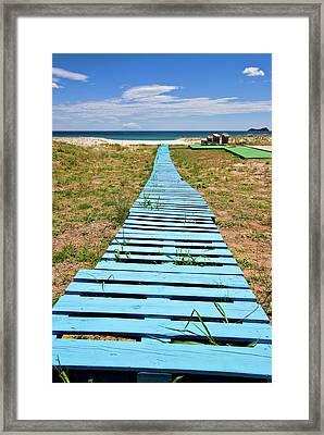 Improvised Boardwalk Framed Print by Meirion Matthias